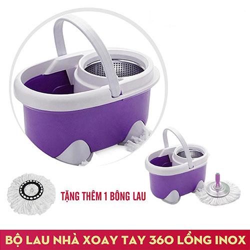 Bộ Lau Nhà Xoay Tay Rổ Inox 360 Độ Fujishi Mop Smart FJ-360 - Tím + Tặng 01 Bông Lau - Hàng Chính Hãng