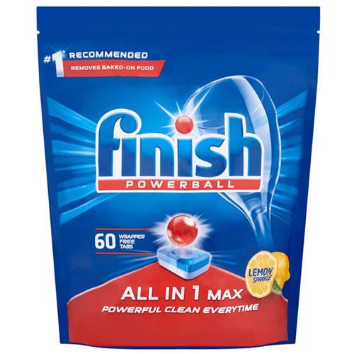 Túi 60 viên rửa chén Finish All In 1 Max Dishwasher Tablets Lemon Sparkle QT04585 - hương chanh