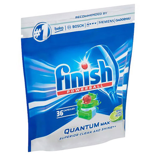 Túi 36 viên rửa chén Finish Quantum Max Dishwasher Tablets Apple Lime Blast QT09447 - hương chanh, táo