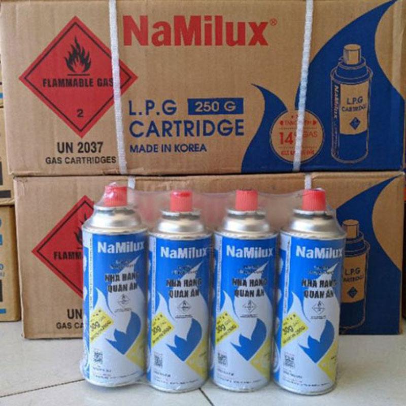Thùng 28 Lon gas mini NAMILUX 250g an toàn nhập khẩu Korea