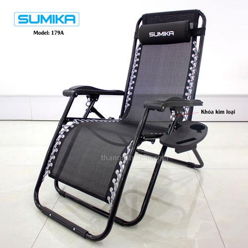 Ghế xếp thư giãn Sumika 179A (Khóa kim loại, khung ghế tròn)