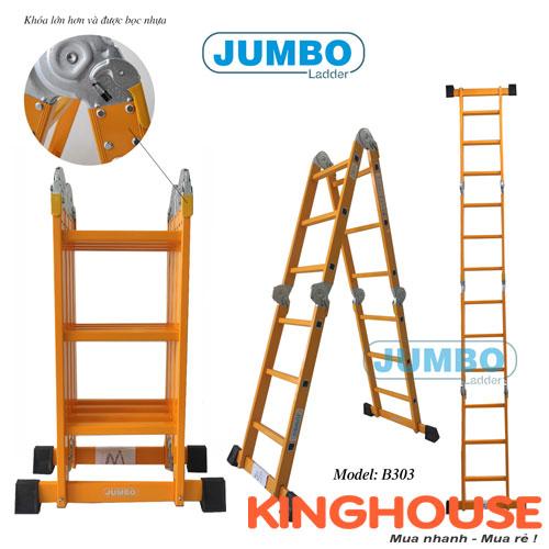 Thang nhôm gấp 4 đoạn Jumbo B303 - 3.6 mét